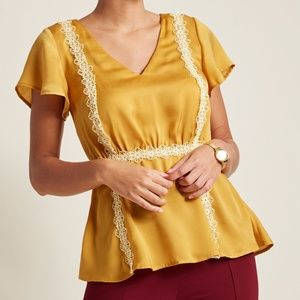 Modcloth Peplum Needlepoint Top